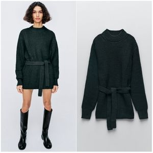 NWT ZARA | Long Belted Knit Sweater